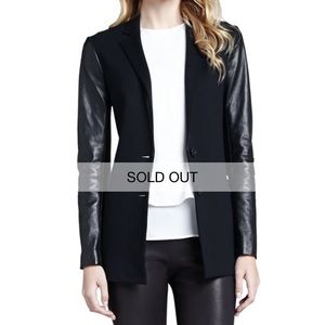 THEORY 'Lacey' Leather Sleeve Blazer